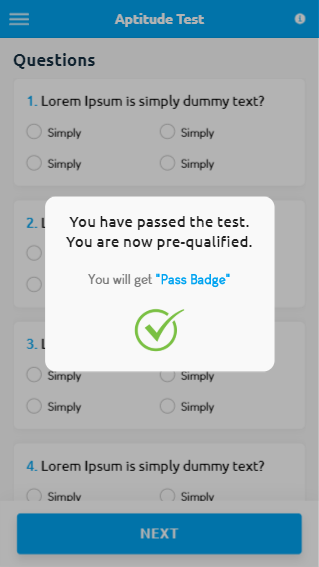 Test Passed Screen